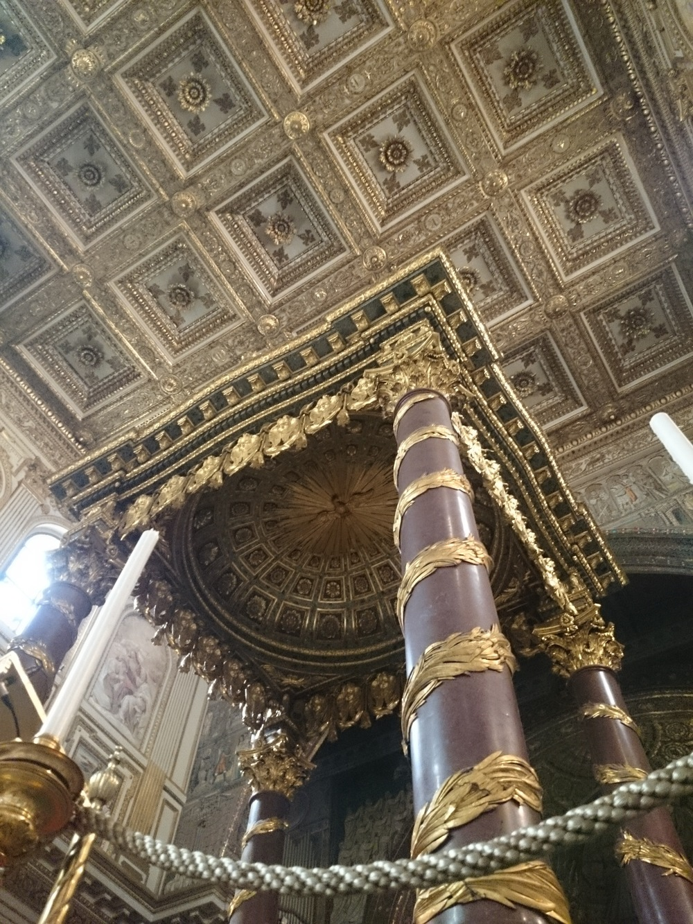 The ceiling and the baldachin of the basilica of St Mary Major in Rome. The gold comes from the Inca Empire