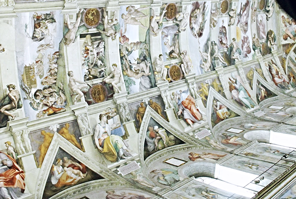 The ceiling of the Sistine Chapel painted by Michelangelo