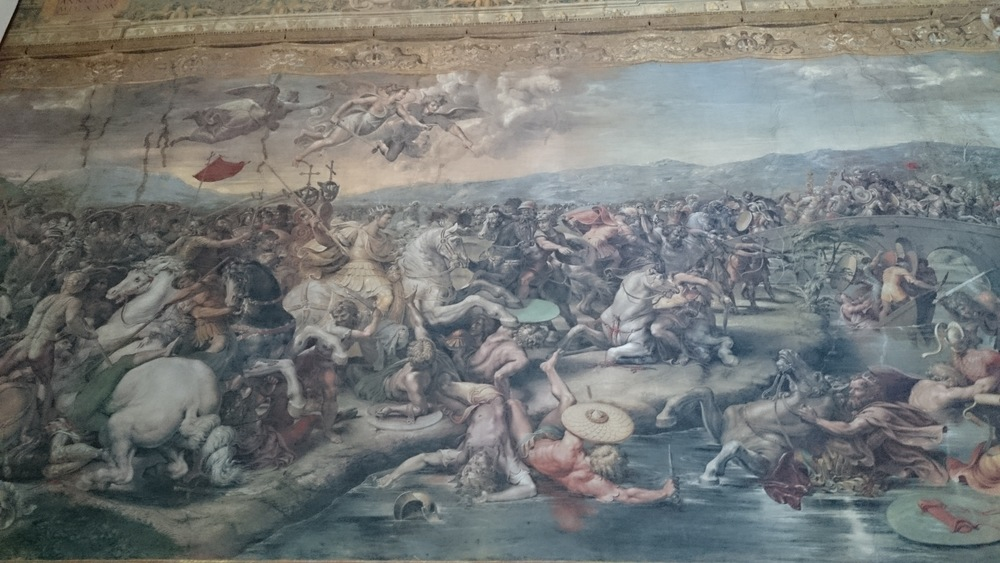 The stunning Battle of Ponte Milvio painted by Giulio Romano, we will see this during our Vatican tour.