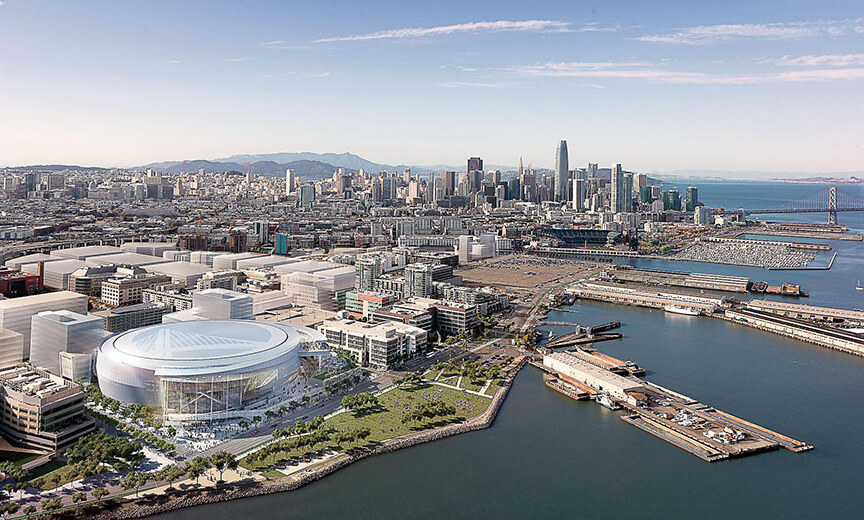 The 18,000 seat Chase Center in San Francisco's Mission Bay neighborhood is scheduled to open in time for the 2019-20 NBA season. Besides Warrior games, the arena is expected to host events including concerts and conventions.  Photo: Image rendered by Steelblue., Courtesy of MANICA Architecture