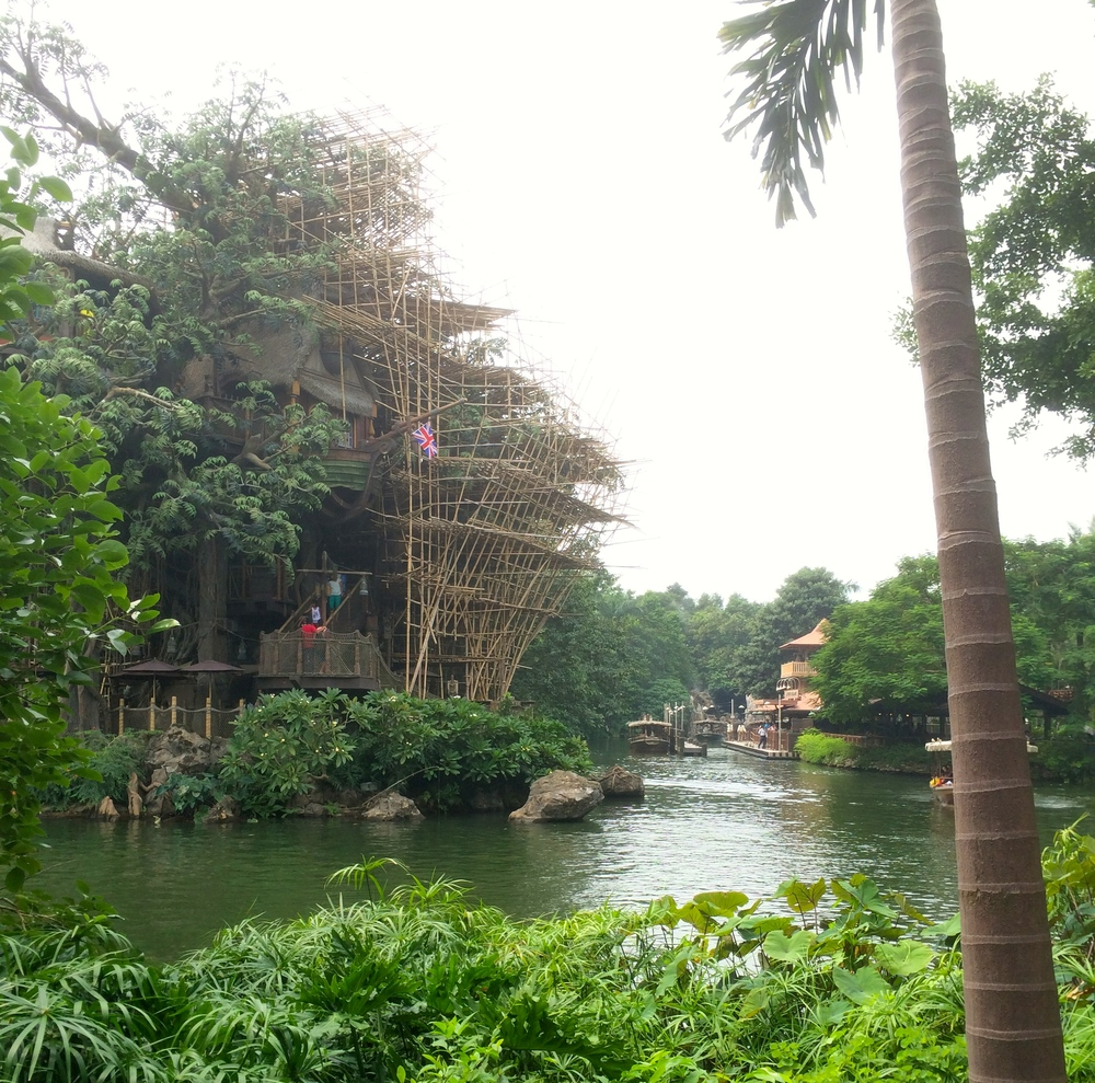 Tarzan's Tree House (you had to take a boat over there), that's the Jungle Cruise loading in the background.