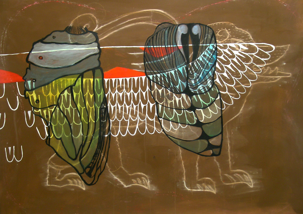 La Esperanza, acrylic, charcoal, and snake shedding, 36%22x50%22  .jpg
