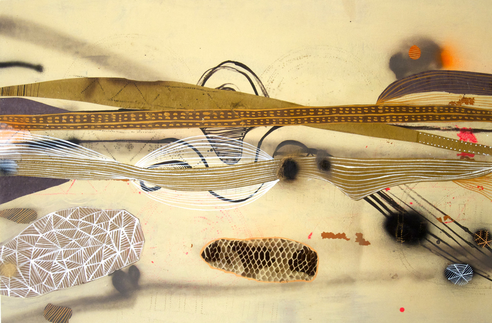 nubilous striation  mixed media on paper mounted on wood  2010