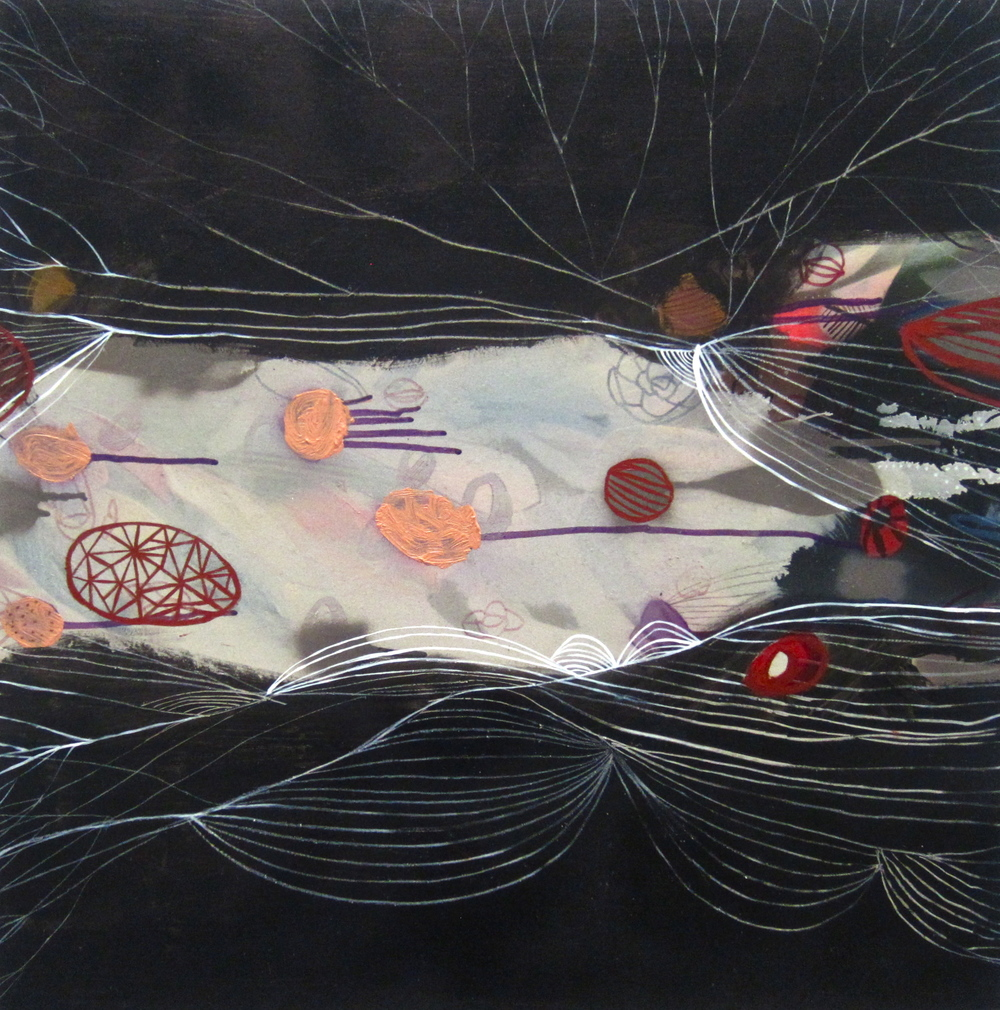 "subterranean  mixed media on panel  24"" x 24""  2012"