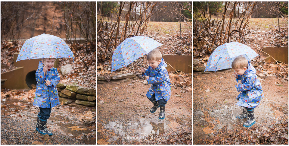 23|365  We gave jack this umbrella for Christmas and it is arguably his favorite present ever. He has also always been all about his rain boots and coat so on this rainy day I decided to take him to a local park for some puddle jumping. He only made it through this one jump and then was too upset that his pants and socks got wet. We'll have to do this more often!