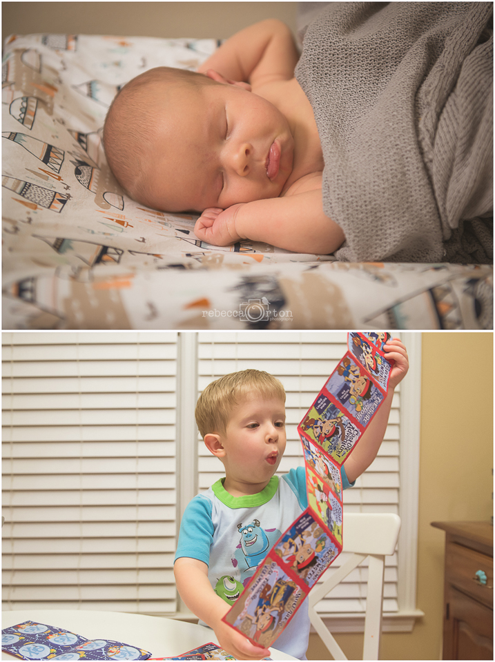 2.10.2015 Faces of the day: Ryan's in between more newborn photos Jack's as he prepares his Jake valentines for school