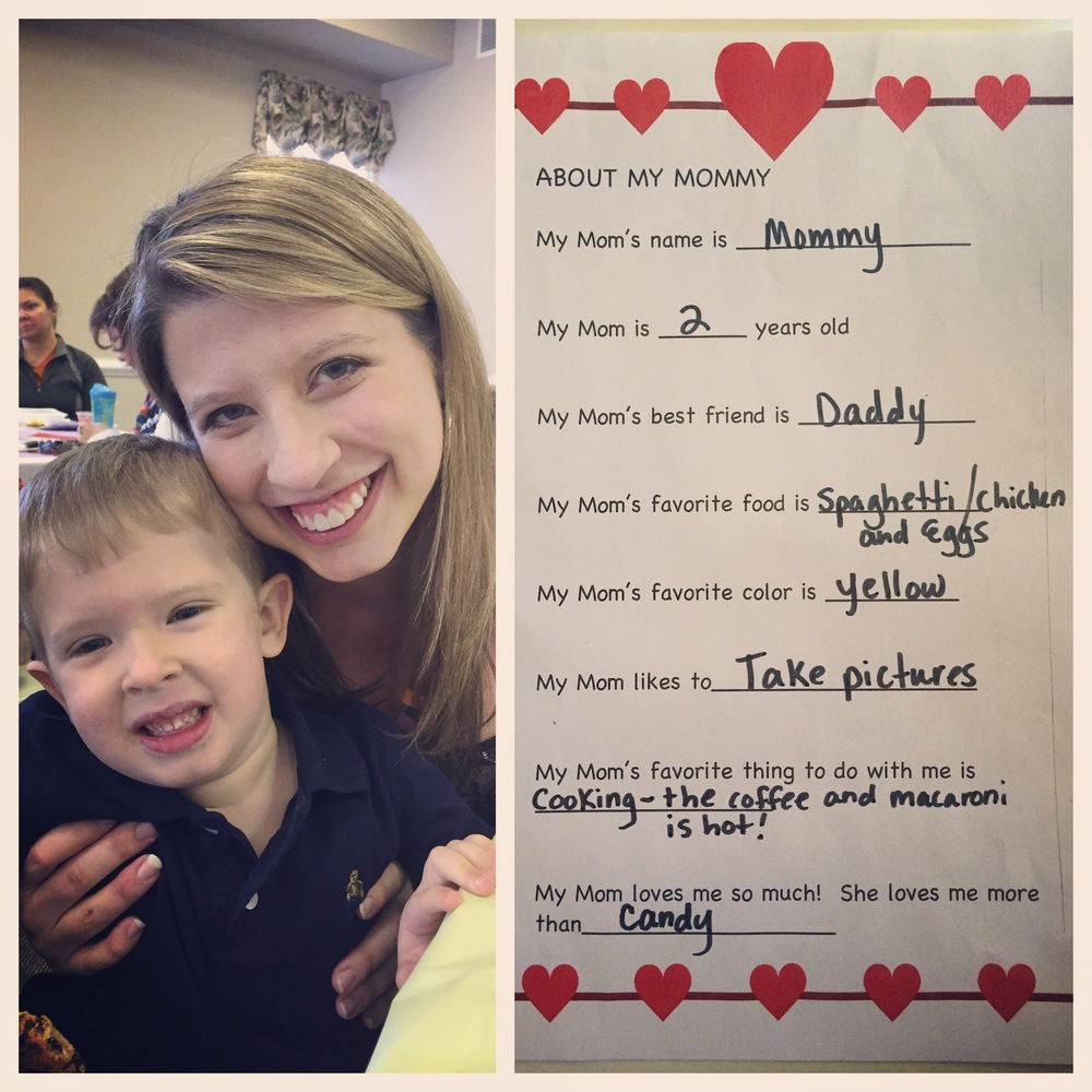 2.12.2015 Valentine sweetheart lunch with my big boy. And his sweet answers about mommy:)