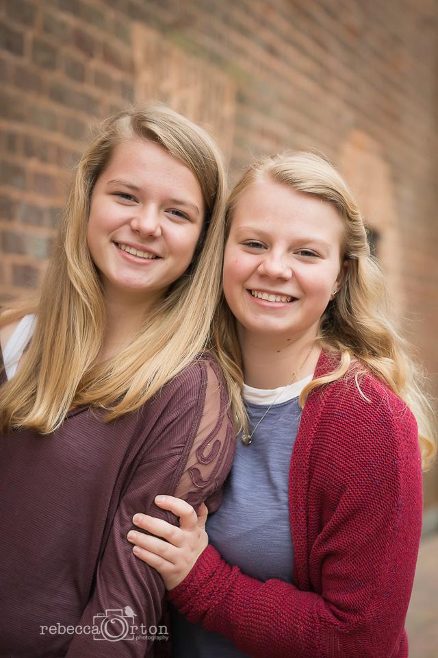 blonde sisters in winter