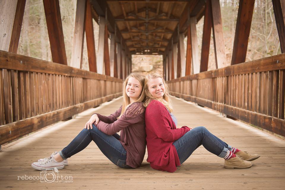 blonde sisters on bridge