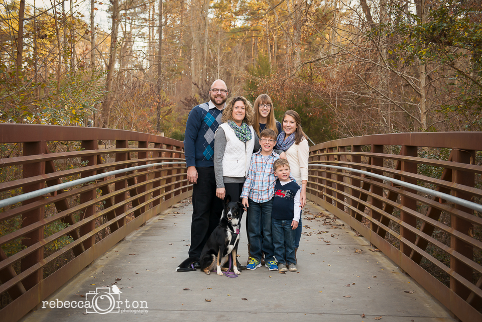 family of 6 on bridge