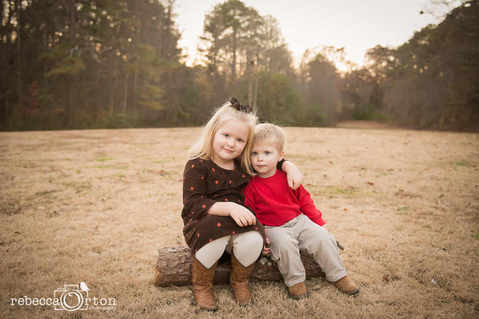 brother and sister christmas photo