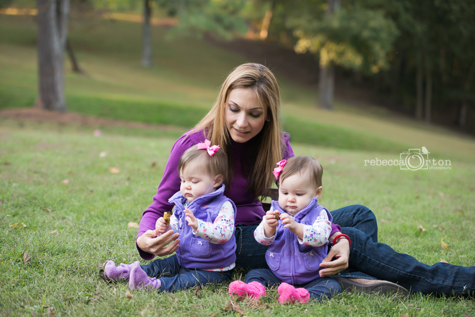 mommy and daughters in purple