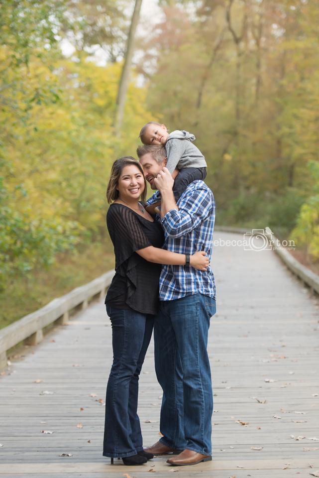 adorable family of 3 on big creek greenway