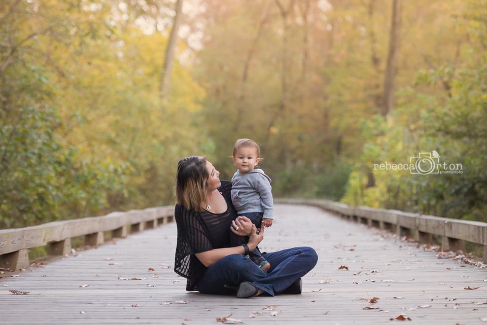 mom and one year old boy big creek greenway