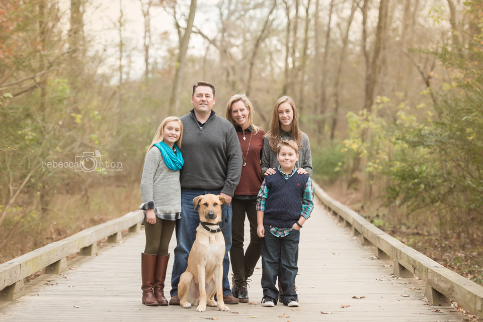 family of 5 and dog