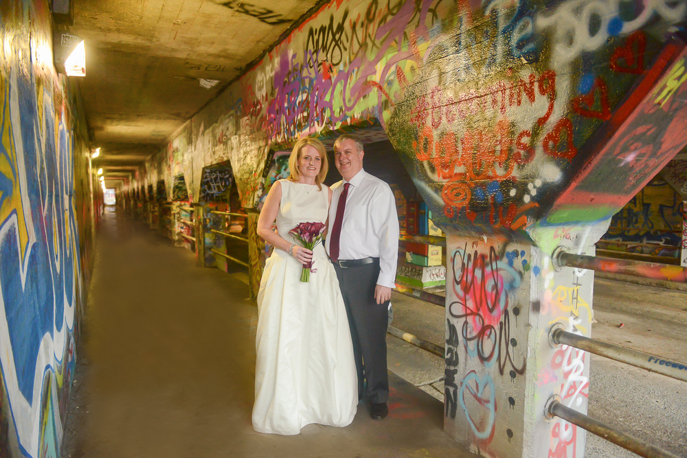 krog street tunnel bride and groom