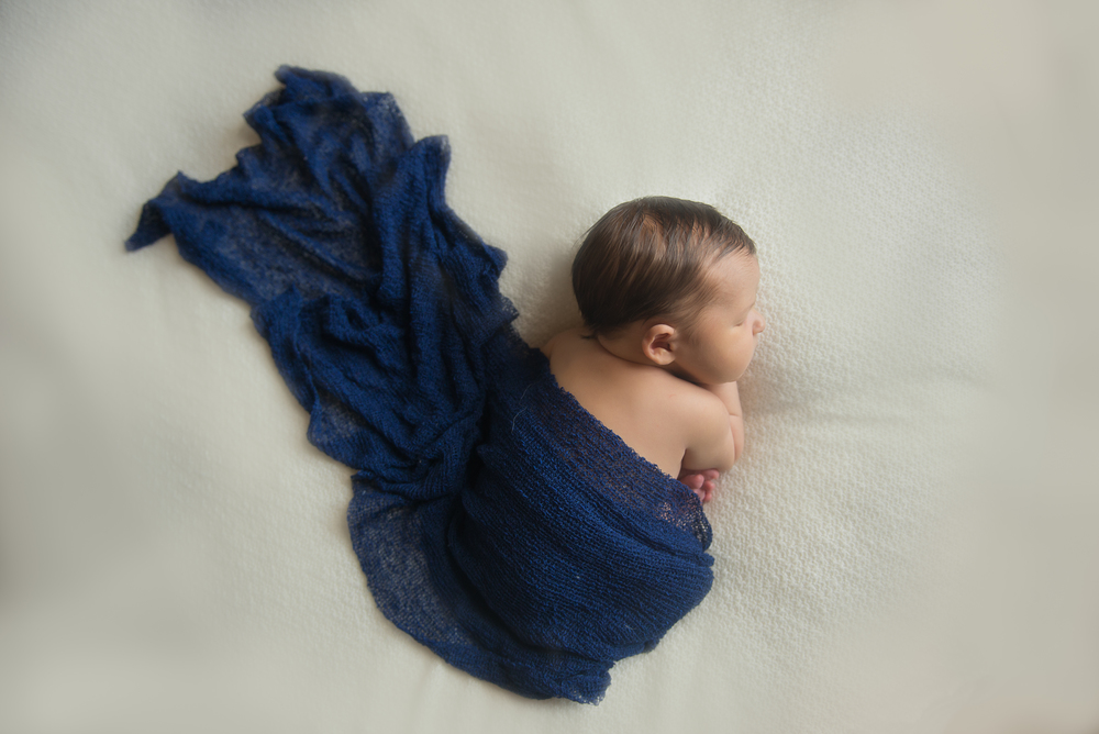 artistic newborn boy blue