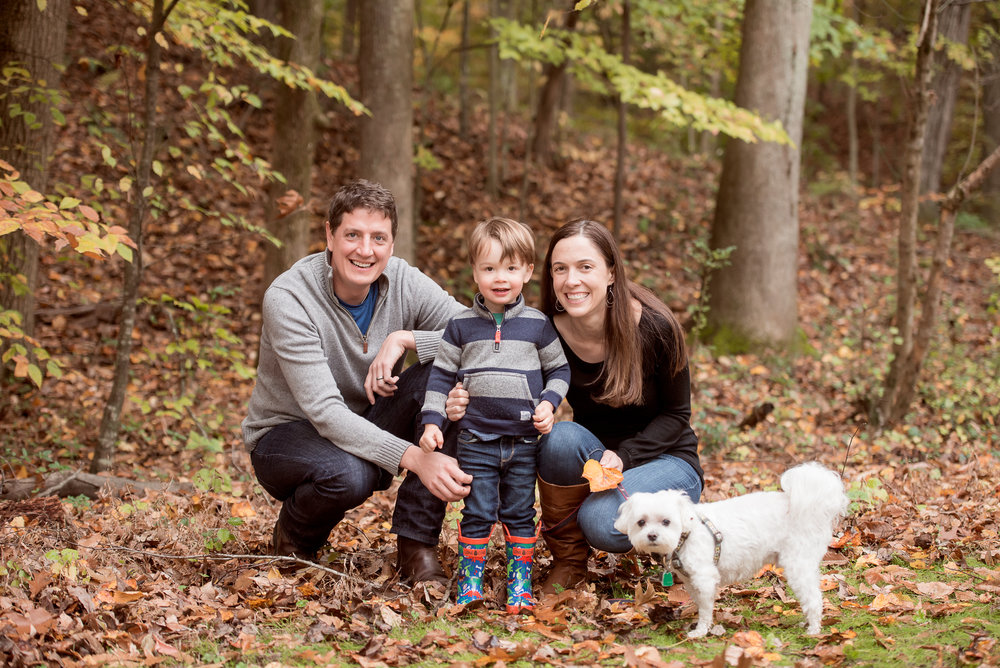fall family of 3 and doggie
