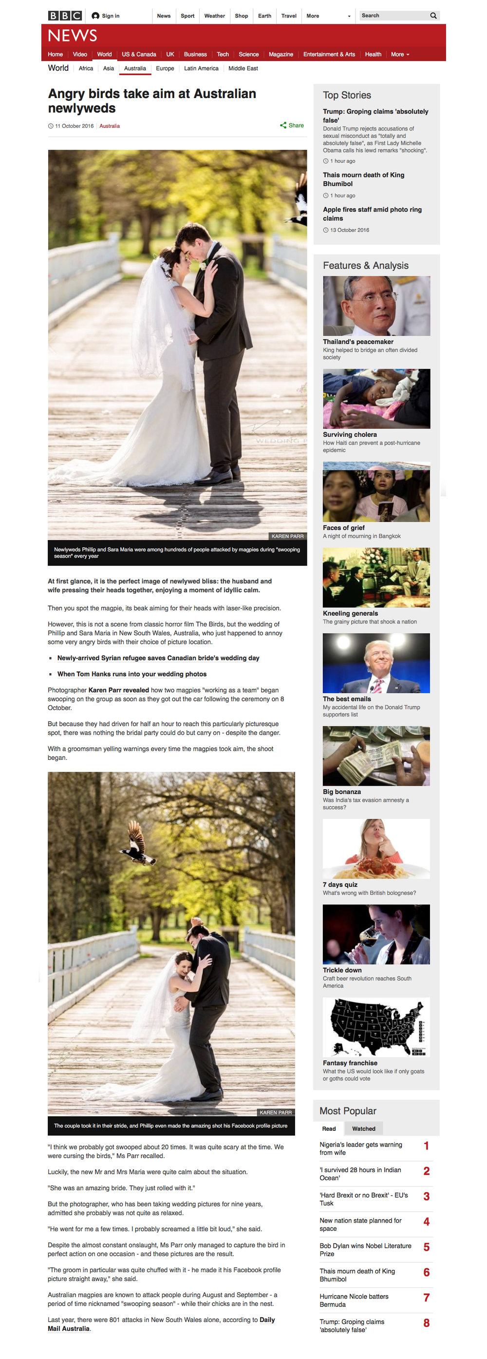 Magpie Wedding Photo BBC UK
