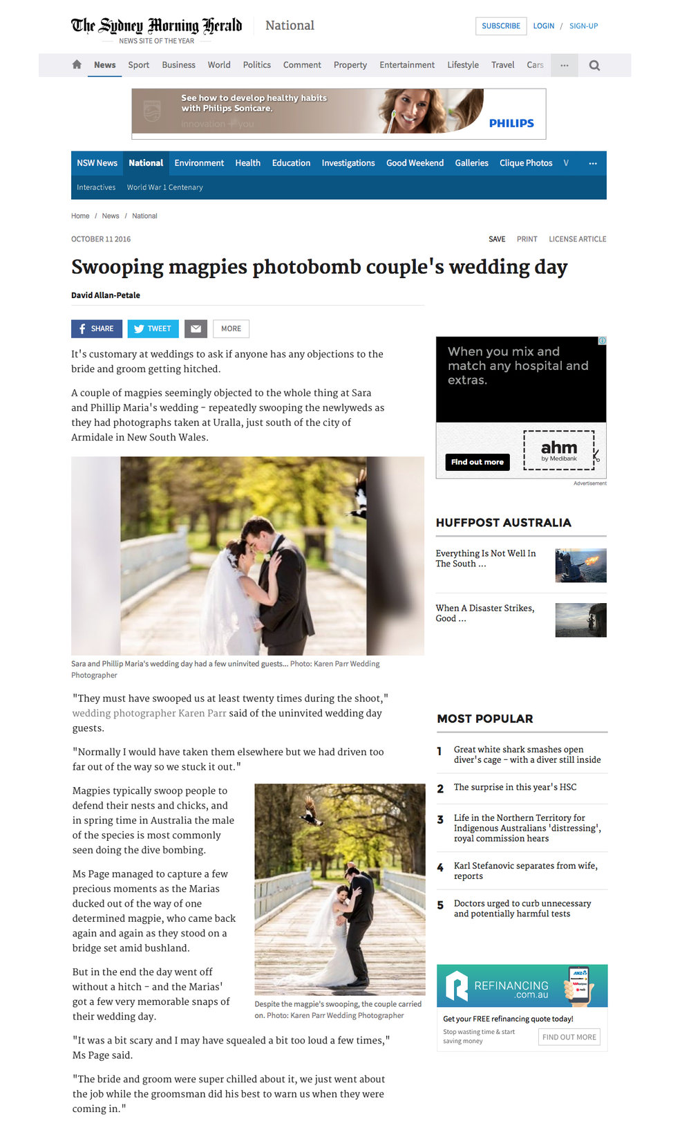 Sydney Morning Herald Wedding Photo