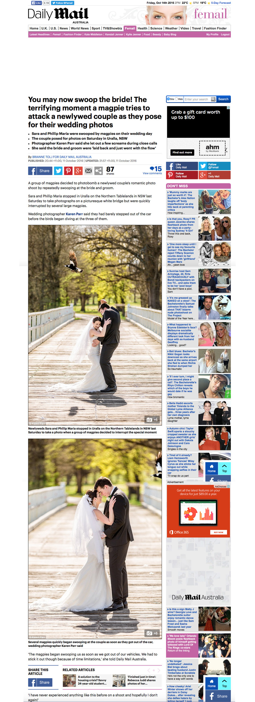 The Daily Mail UK Australia Wedding Photographer