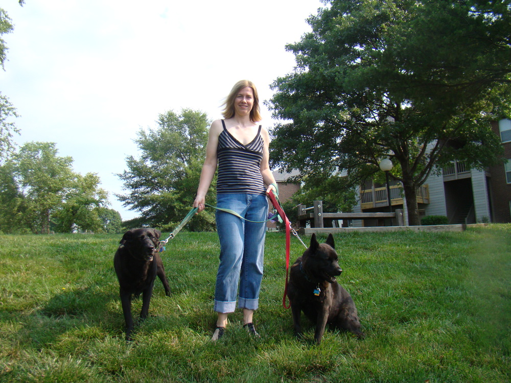 Julia with her dogs Tyson and Nate