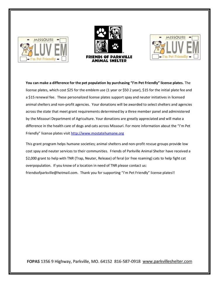 Pet Friendly License Plates — Friends of Parkville Animal Shelter