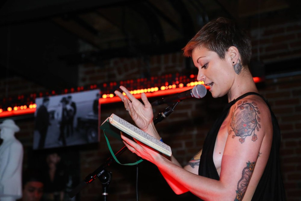 Anna Knudson performs spoken word at ABTG V | Photo by Eugene Lee