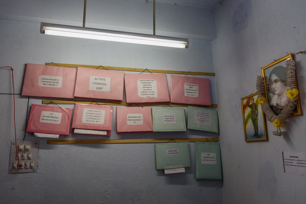 Police record files hang on the walls of Banarhar Police station, West Bengal, India. This region is notorious for trafficking and many girls have been missing from the area.