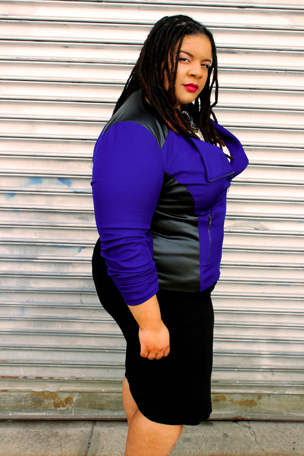Plus Size Cobalt Blue  Moto Jacket
