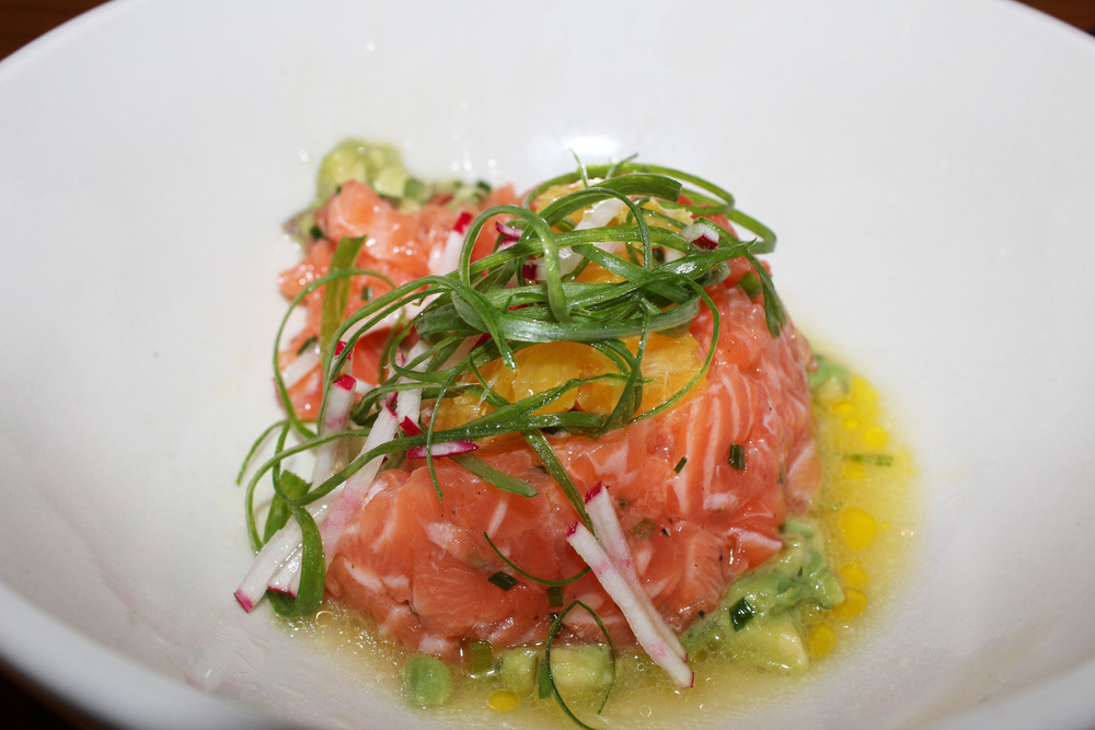 Salmon Tartare   avocado salsa, spring onion, orange vinaigrette