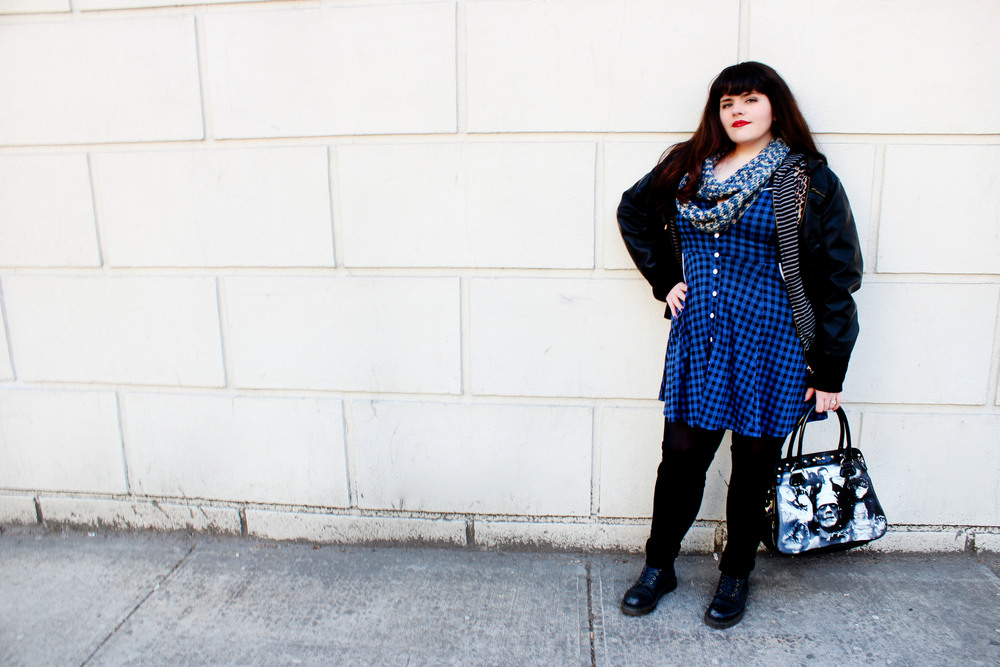 What She's Wearing: Jacket/Forever21, Hoddie/???, Scarf/ Hatsscarfsmittensohmy, Bag/Sourpussclothing.com, Dress/Sourpussclothing.com, Tights/???, Leg-Warmers/???, Boots/DrMartens