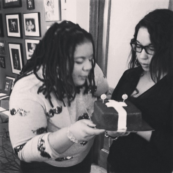 Sharing in the Birthday Celebrations with my Cuzo, she thought she was slick and blew out the candles before I could.