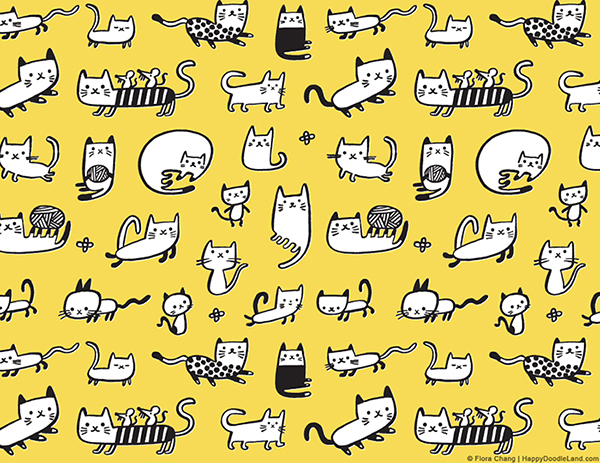 Yellow Kitties Pattern © Flora Chang | Happy Doodle Land.png