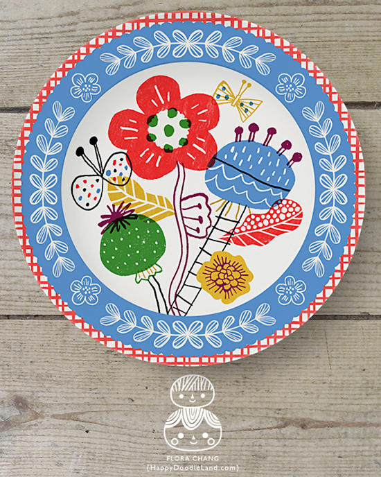 FloraChang_HappyDoodleLand_BlueBorderFloralPlate.jpg