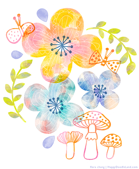 FloraChang_HappyDoodleLand_WatercolorFlowers.png