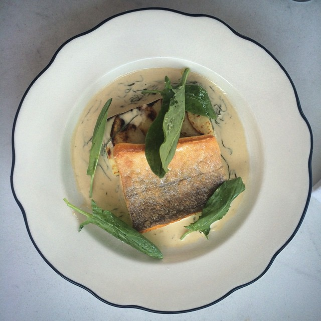Tonight on our prix fixe... Arctic Char with sorrel, cream, and potato gratin. #french #troisgros #greenpoint #prixfixe