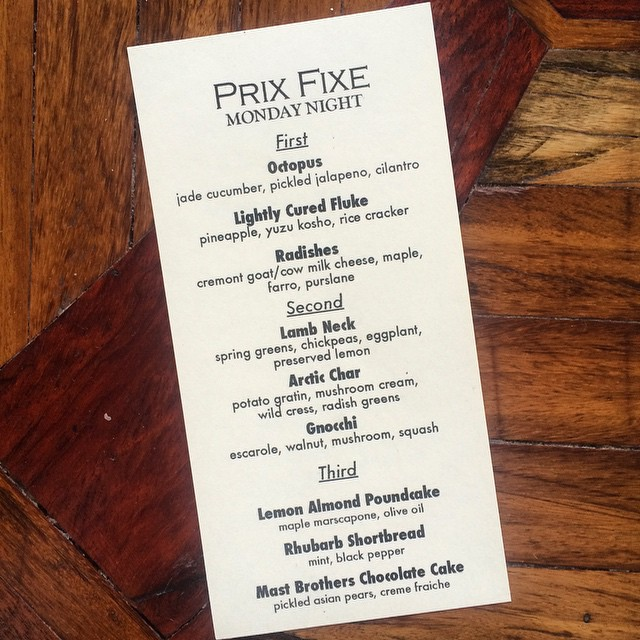 Prix fixe options for tonight...Only 39.99! #prixfixe #fancy #greenpoint #alamedagreenpoint