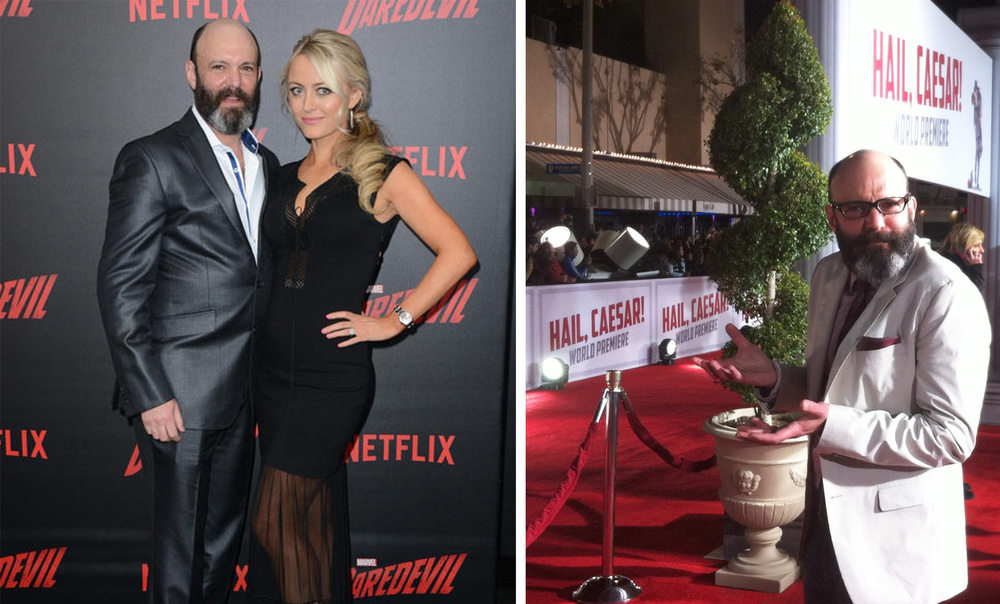"Karl Manhair's own Geoffrey Cantor and Amy Rutberg looking sharp on the red carpet for the premieres of Netflix's ""Daredevil"" and the Coen Bros ""Hail Caesar!"""