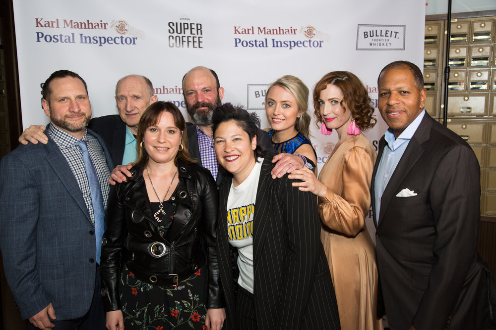 L-R  Writer, Director, Co-EP Chandler Kauffman, cast members Peter McRobbie, Geoffrey Cantor, Amy Rutberg, Brandi Nicole Wilson and Michael D Hill.  Front, Co-EP Hillary Cutter and Casting Director Judy Bowman, CSA