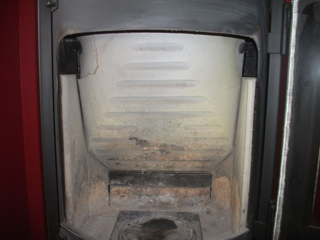 A wood burner after being swept, we will inspect fitting on these systems to detect wear and tear like a broken fire brick - upon finding anything we can advise how best to fix the problem.