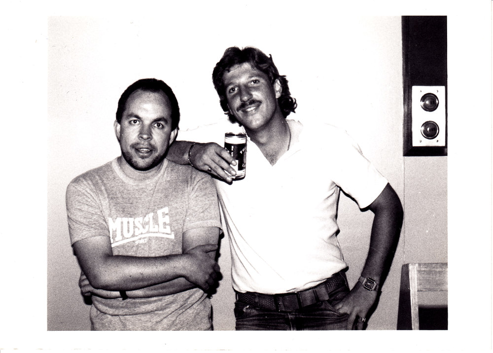 Andy Peebles (left) With Sir Ian Botham at BBC Radio One in the early 1980′s.