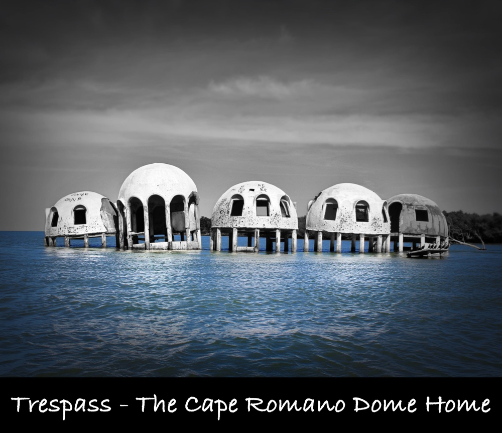 My trip to the Cape Romano Dome Home. A cluster of dome shaped structures that once made a beach home on an island in the Gulf Of Mexico that is only accessible by boat, and is now deserted and the home is being claimed by the sea.