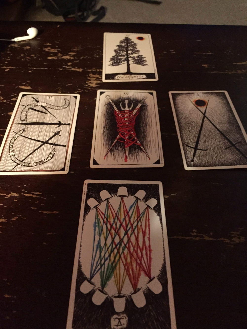 You Are Here spread.  With a serious assist from the Red Headed Stranger.  Wild Unknown deck.
