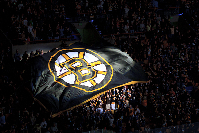 Bruins banner circling the garden before Game 2.