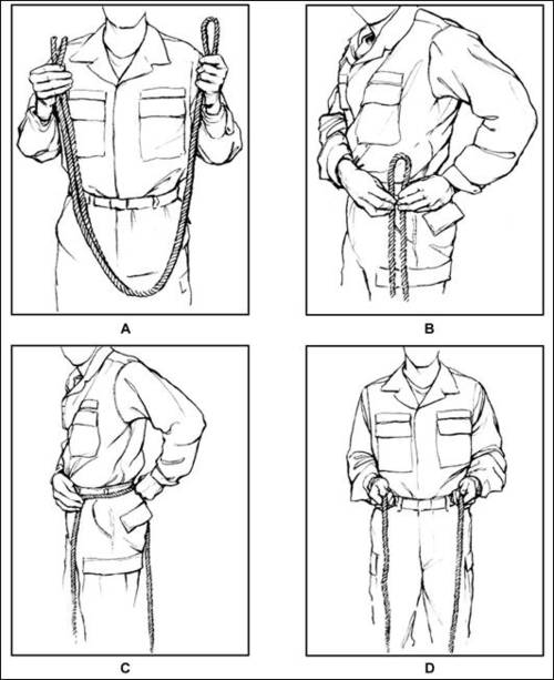 How to tie an emergency harness swiss seat the timothy group start with a length of rope or 1 webbing 10 feet in length the length will vary depending on the size of the individual make sure your shirt is tucked in ccuart Image collections