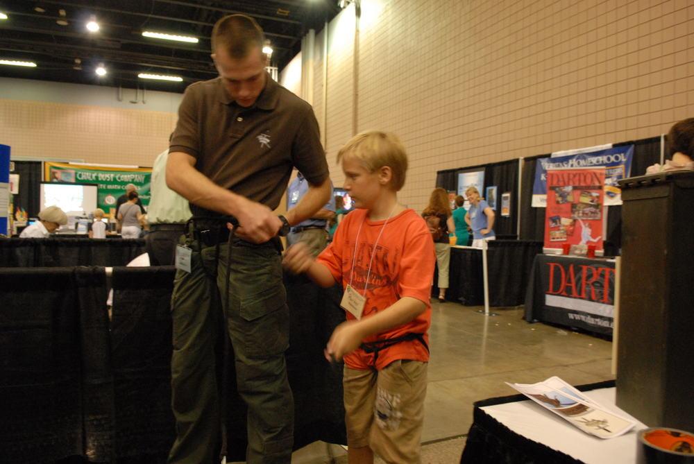 Teaching how to tie a Swiss Seat- Homeschool Expo- Atlanta