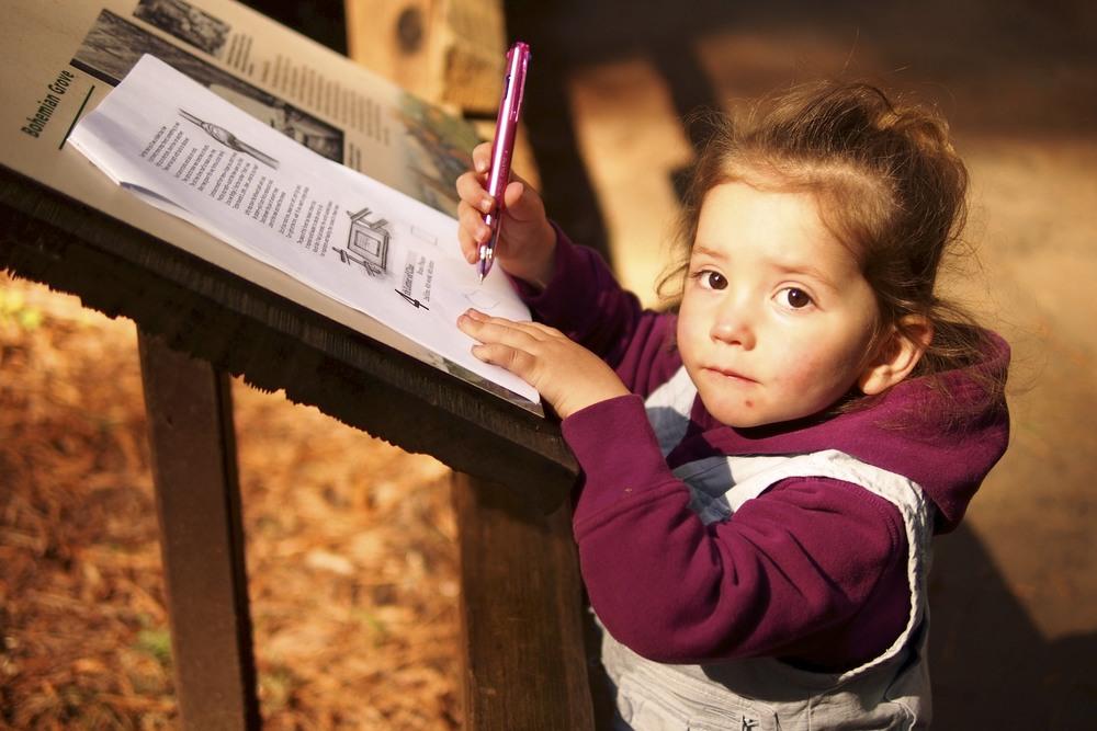 Maren practicing her pen skills.