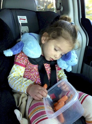 Car nap, mid carrot and all.