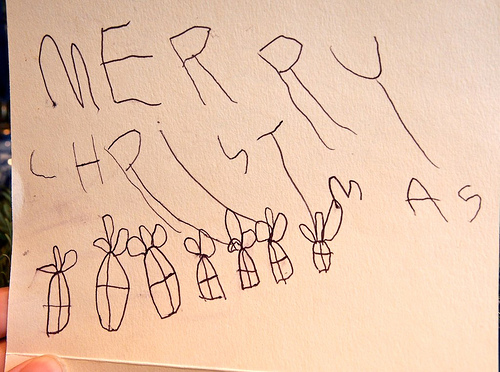 Maisy's Card to Santa, plus Mo, our Elf on the Shelf!